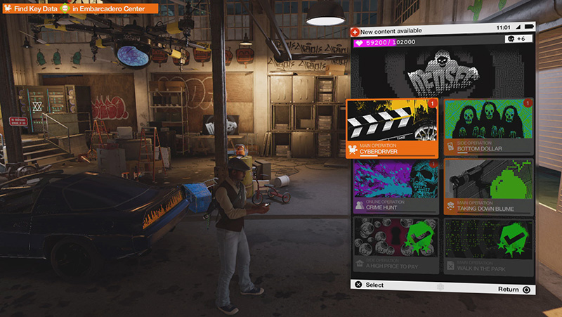 Watch Dogs 2 Mission Select Screen