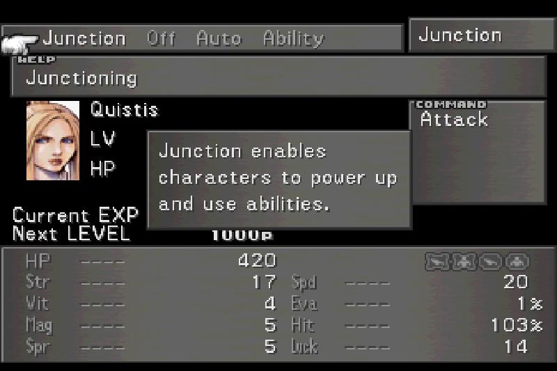 Final Fantasy VIII Menu Screen