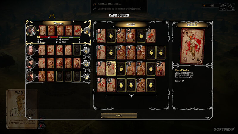 Hard West Indie Game User Interface with Cards