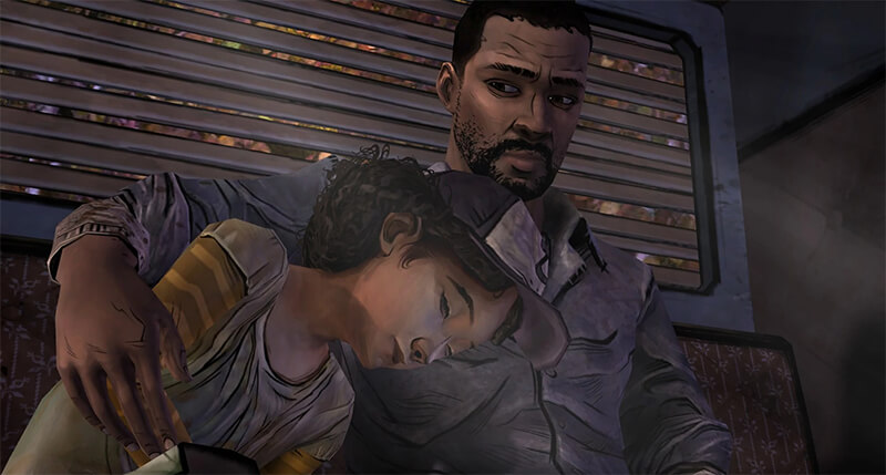 Lee and Clementine in Telltale's The Walking Dead