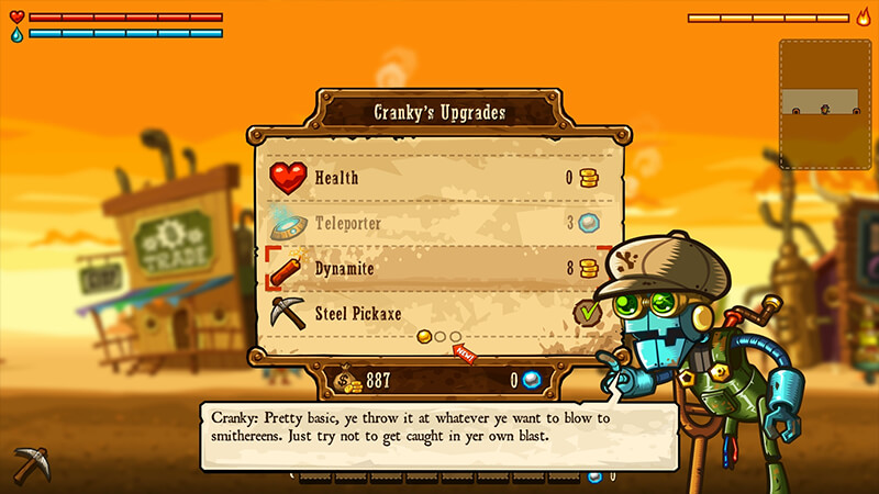Upgrading System by Cranky in Steamworld Dig